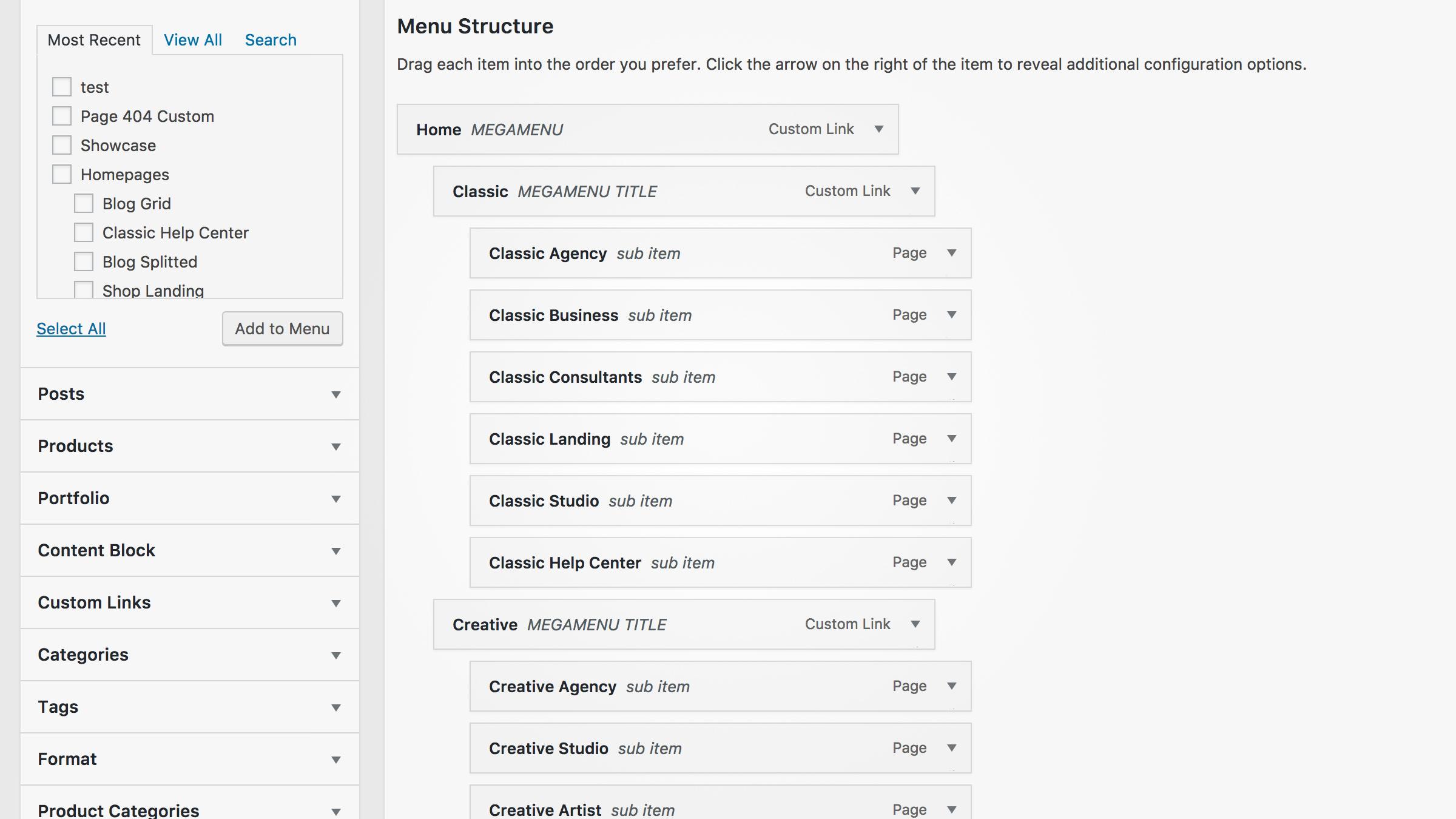 Adding a new menu to WordPress.