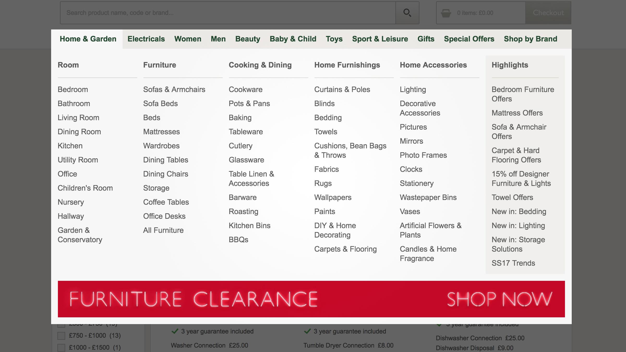 An example of descriptive navigation menu.