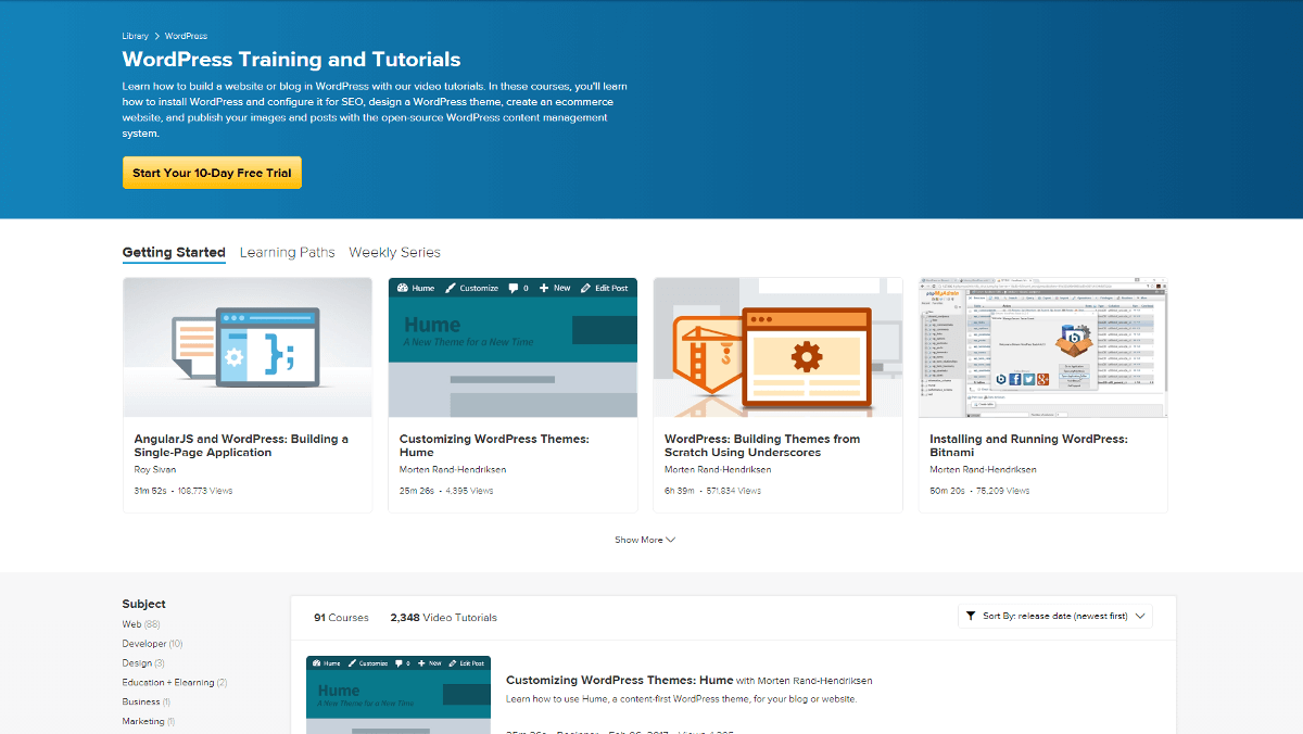 Lynda.com WordPress course list