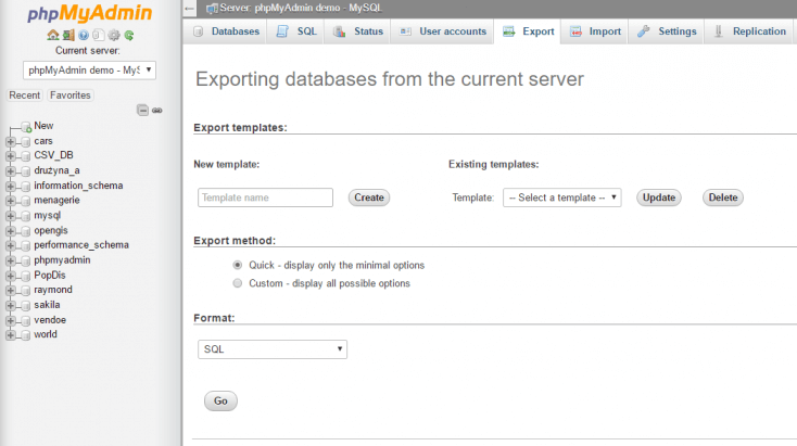Exporting your database.