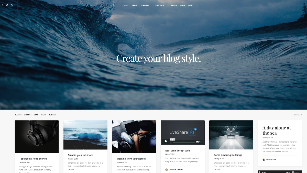Uncode theme's Blog Masonry layout