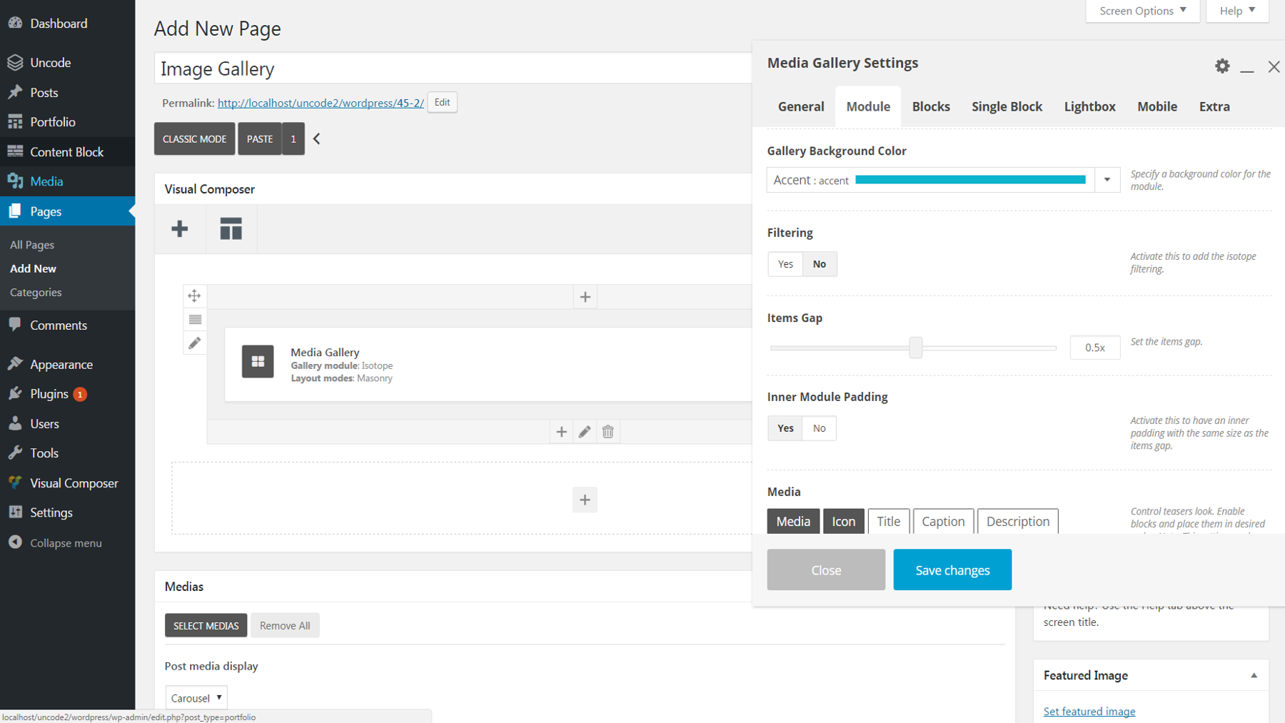 Changing background settings in the WordPress dashboard.