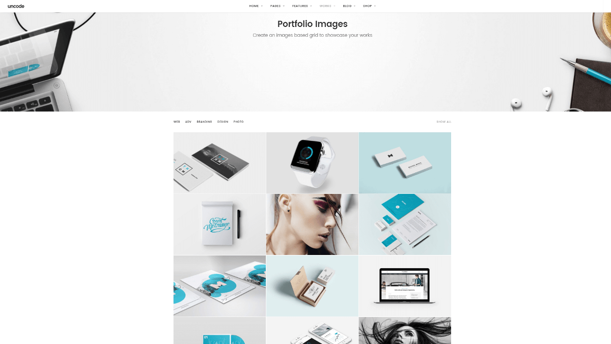 An image gallery in the Uncode theme.