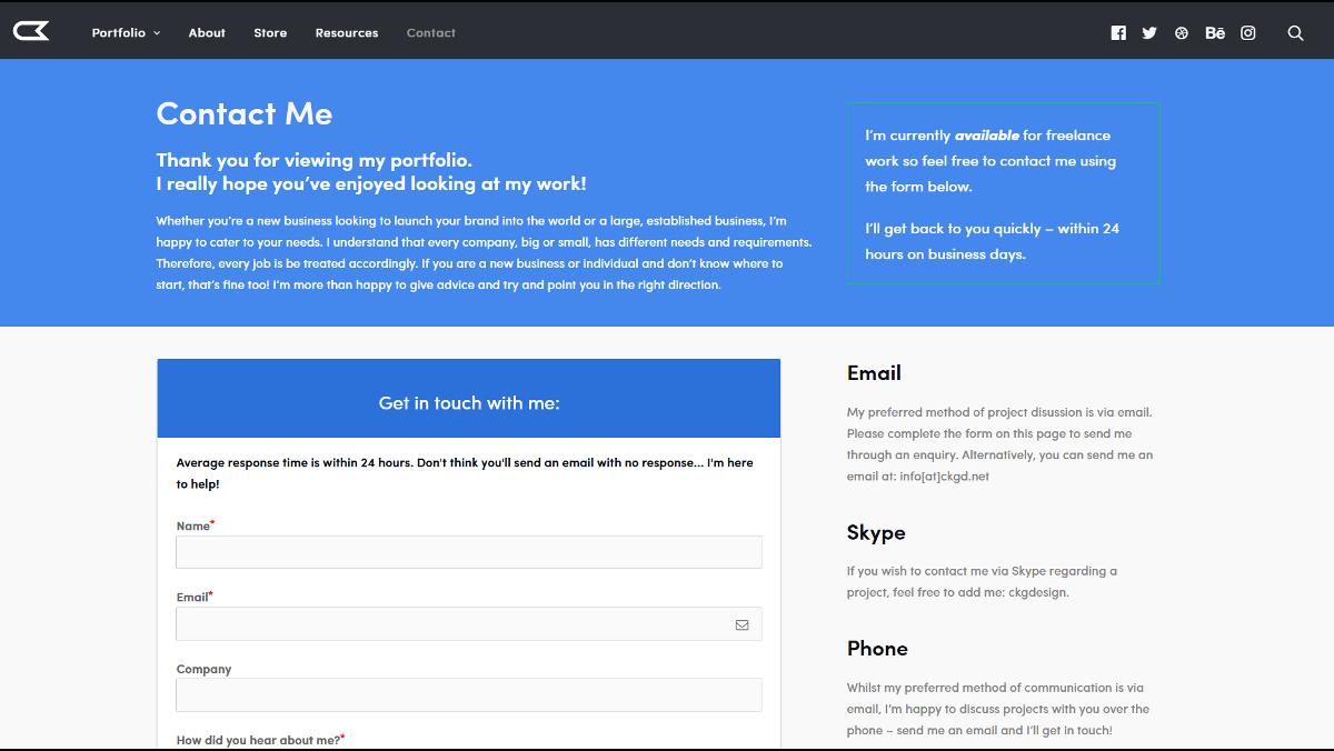 A portfolio site's contact page.