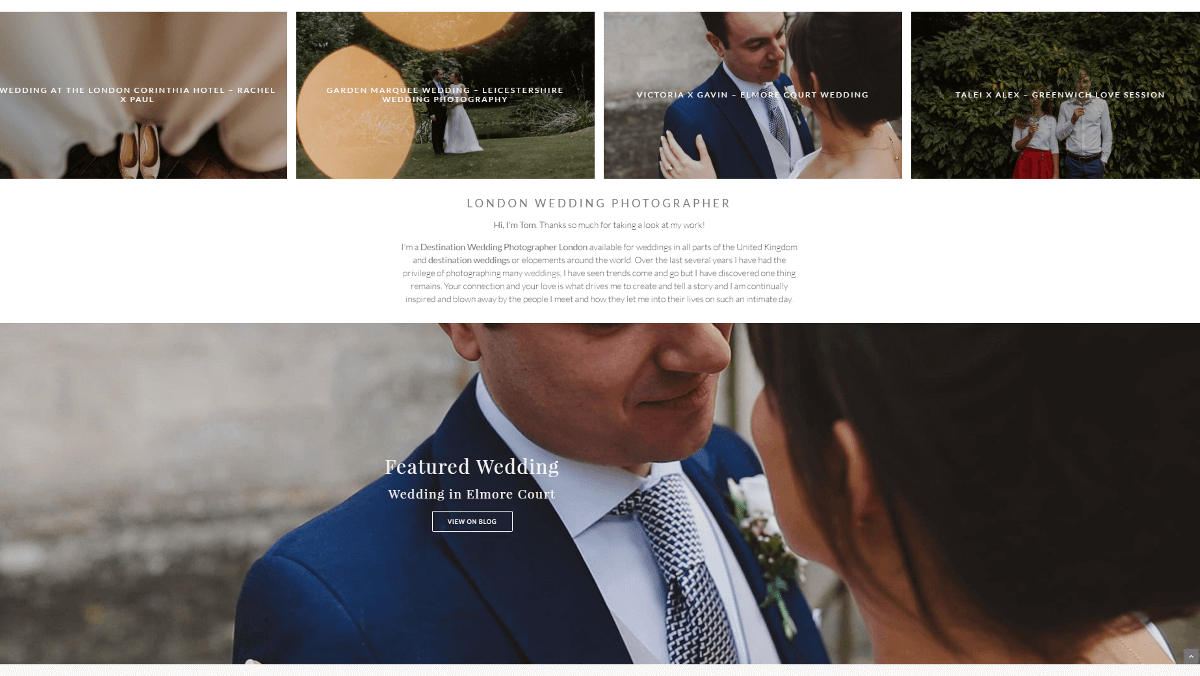 A portfolio site for a wedding photographer.
