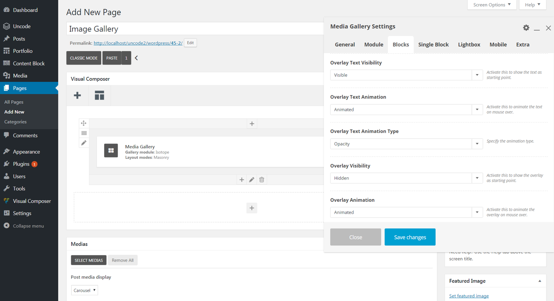 Changing text settings in the WordPress dashboard.