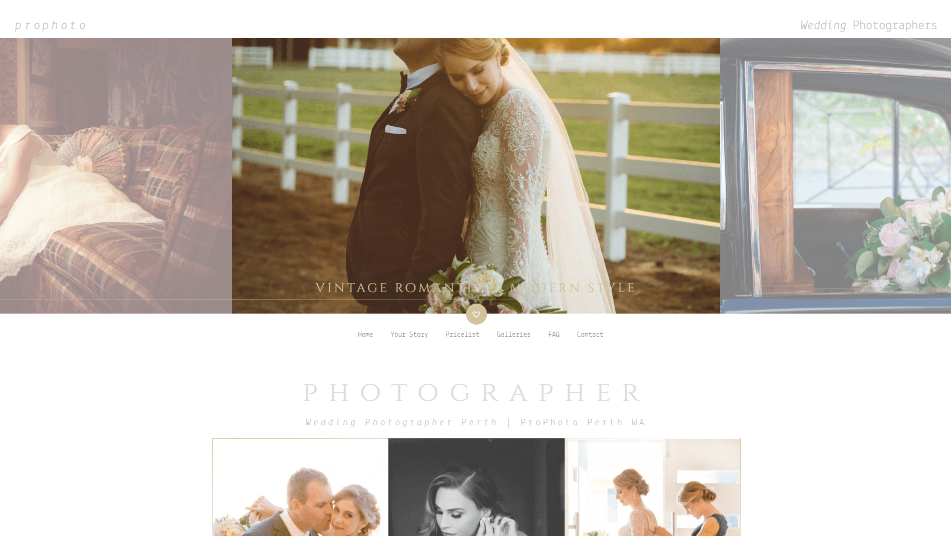 An Uncode wedding site with a custom header.