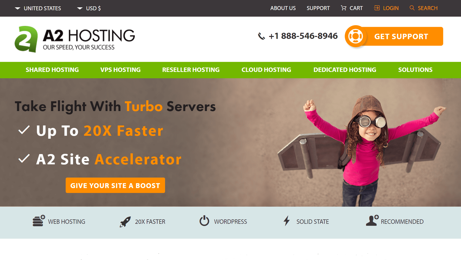 The A2 Hosting web hosting provider.
