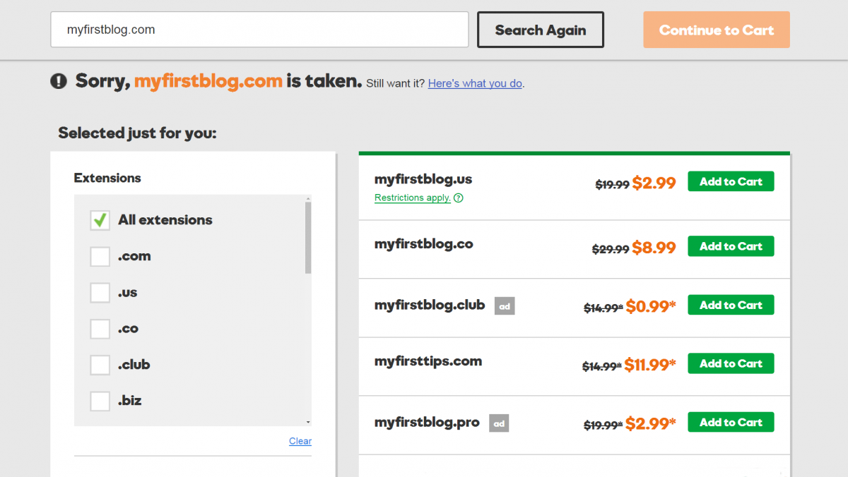 A domain name search on GoDaddy.