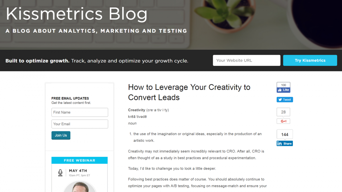 A blog post on the Kissmetrics website.