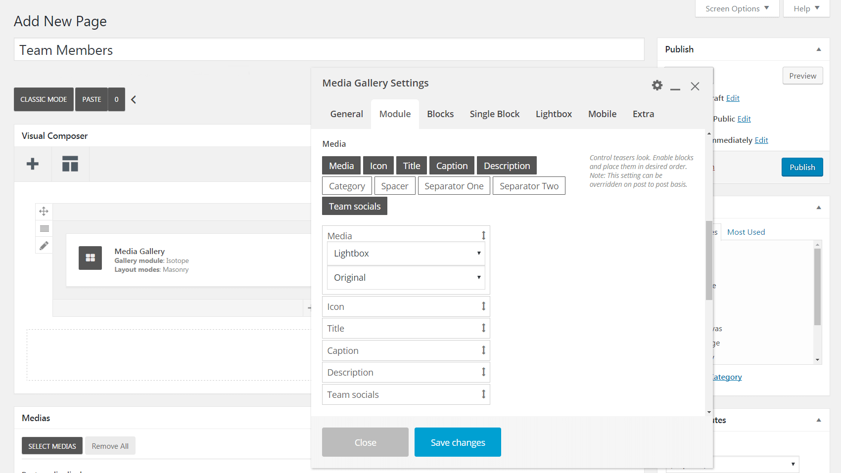 The Media Gallery Settings Module tab.