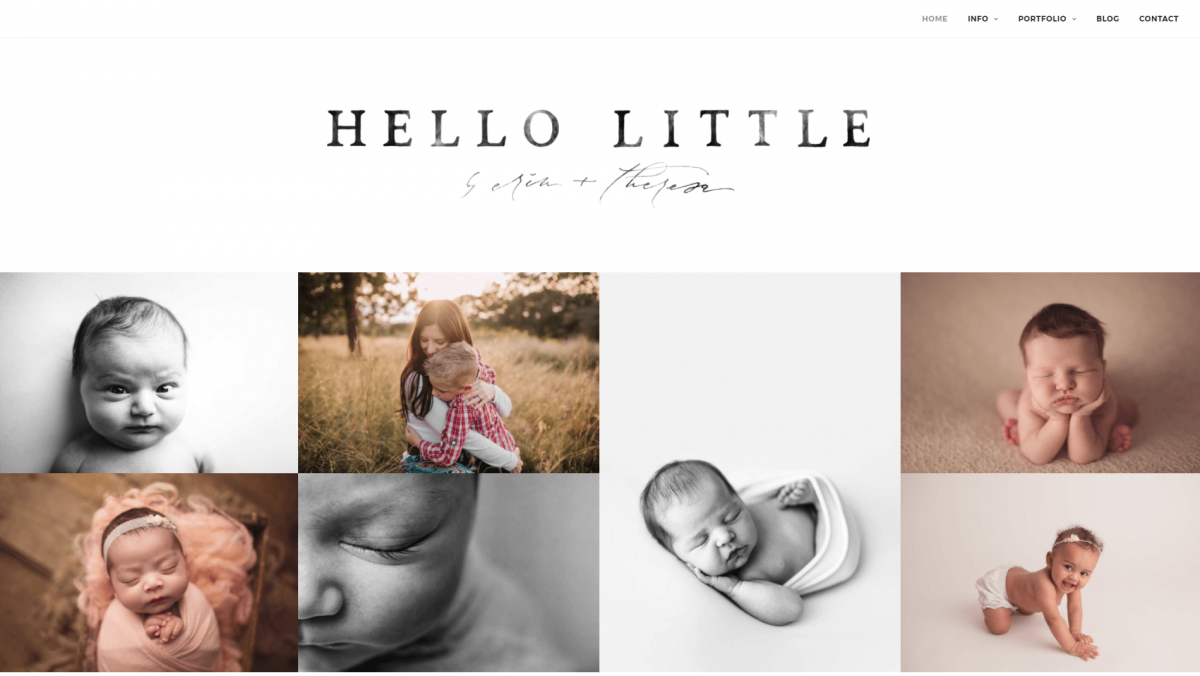 The Hello Little Studios photography website.