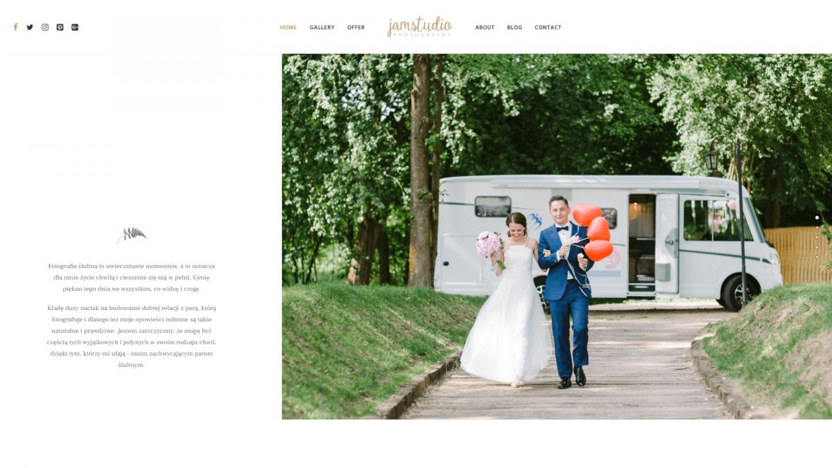 The JamStudio Photography website.