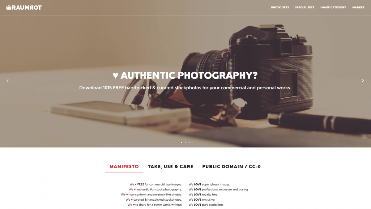 The Raumrot photography website.