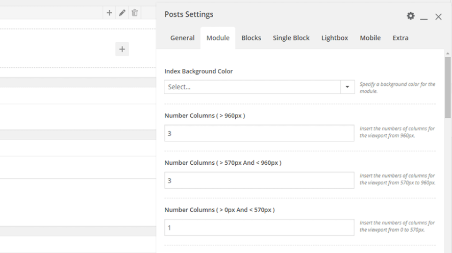 The Posts Settings' Module tab.