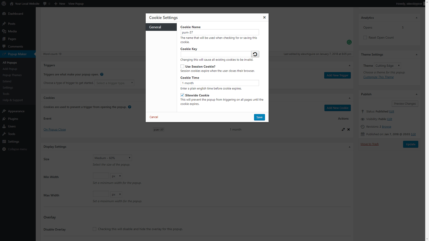 Changing your cookie settings.
