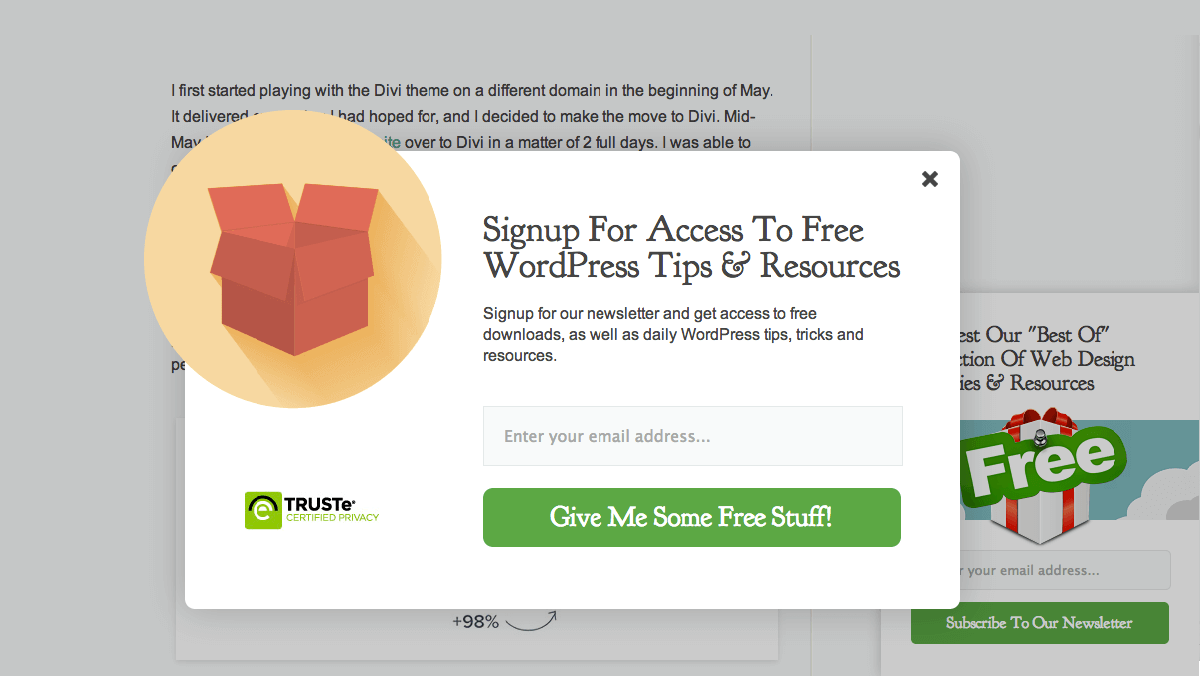 An example of a popup that's easy to close.