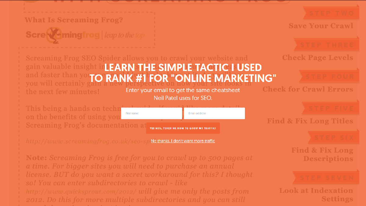 An example of an interstitial popup.