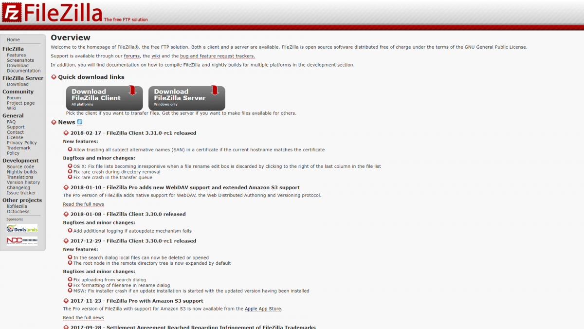 The Filezilla home page.