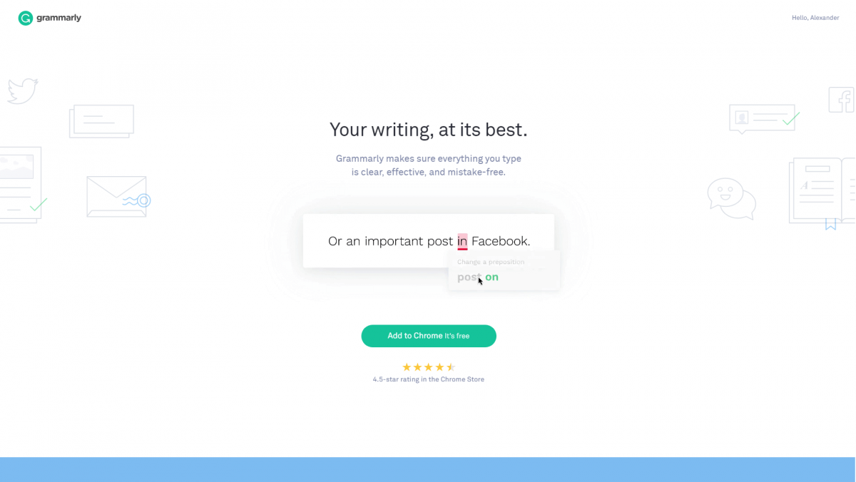 The Grammarly home page.