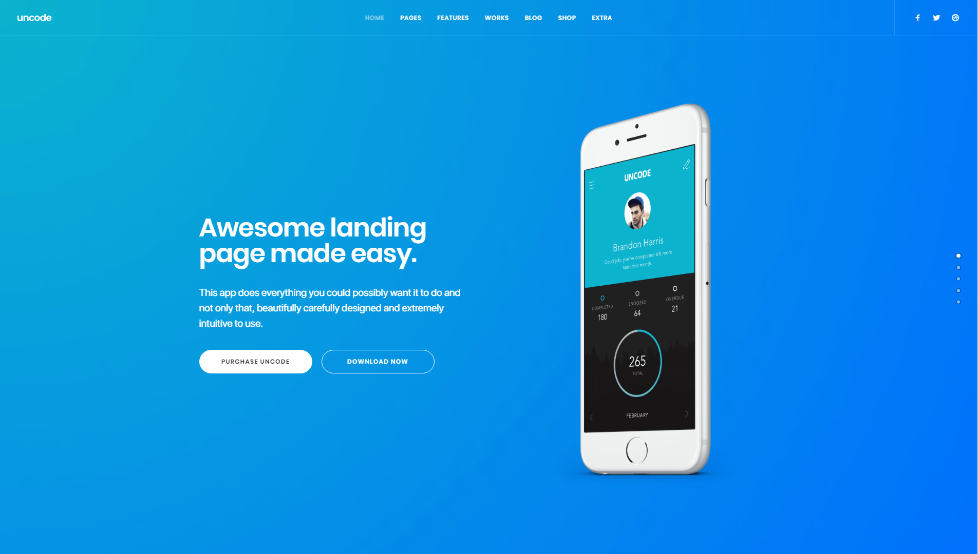 An example of an Uncode landing page.