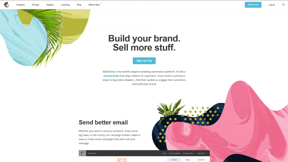 The MailChimp home page.