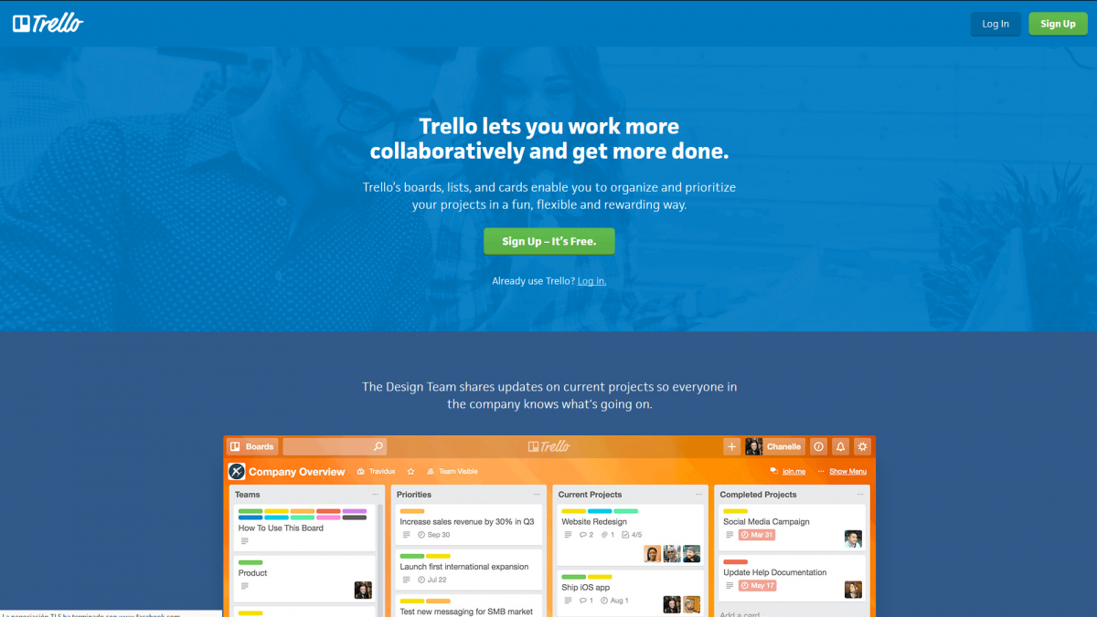 The Trello home page.