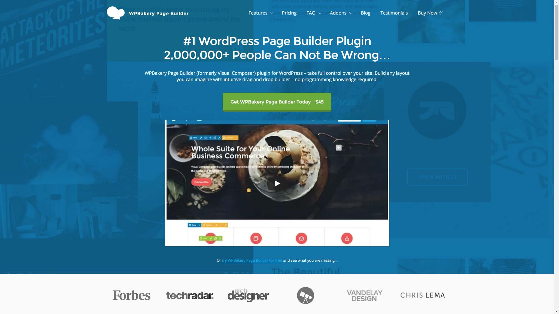The WPBakery Page Builder homepage.
