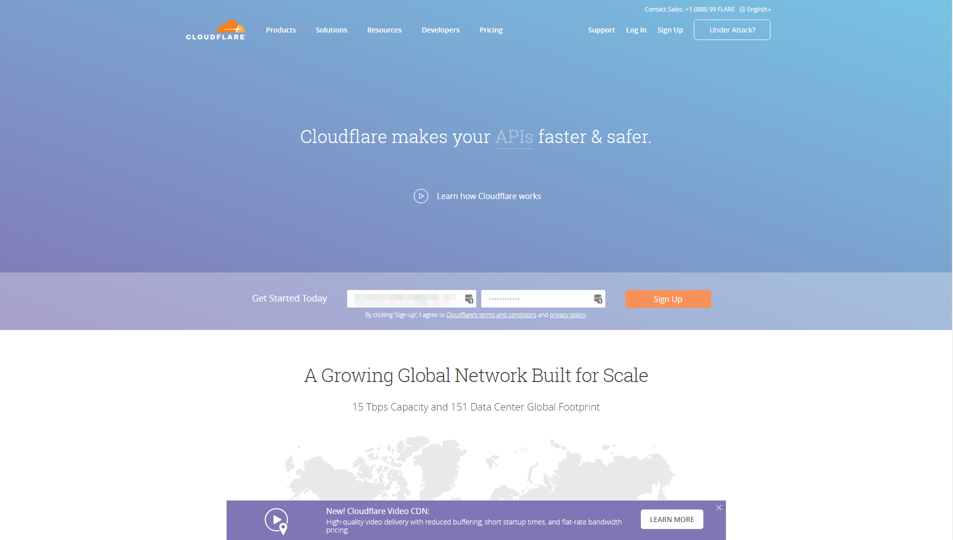 The Cloudflare homepage.