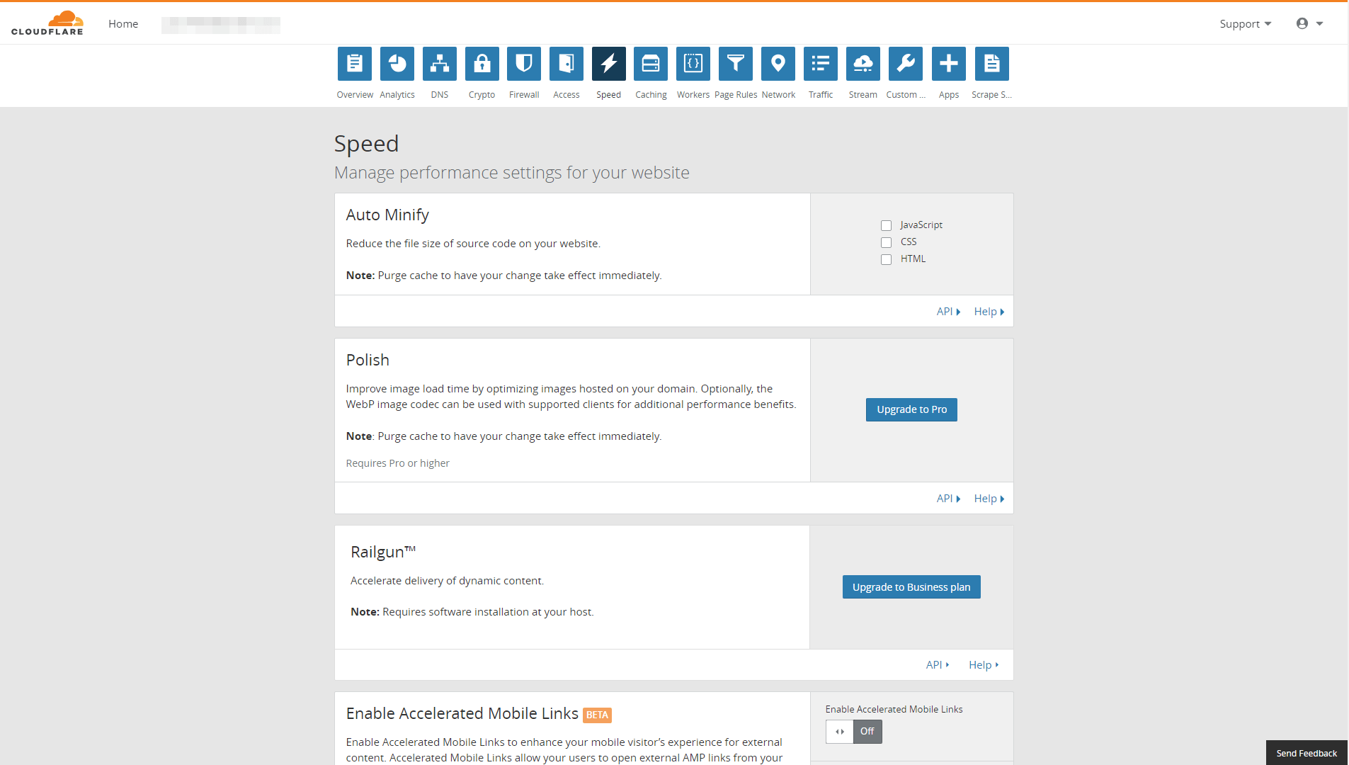 Cloudflare's Speed tab.
