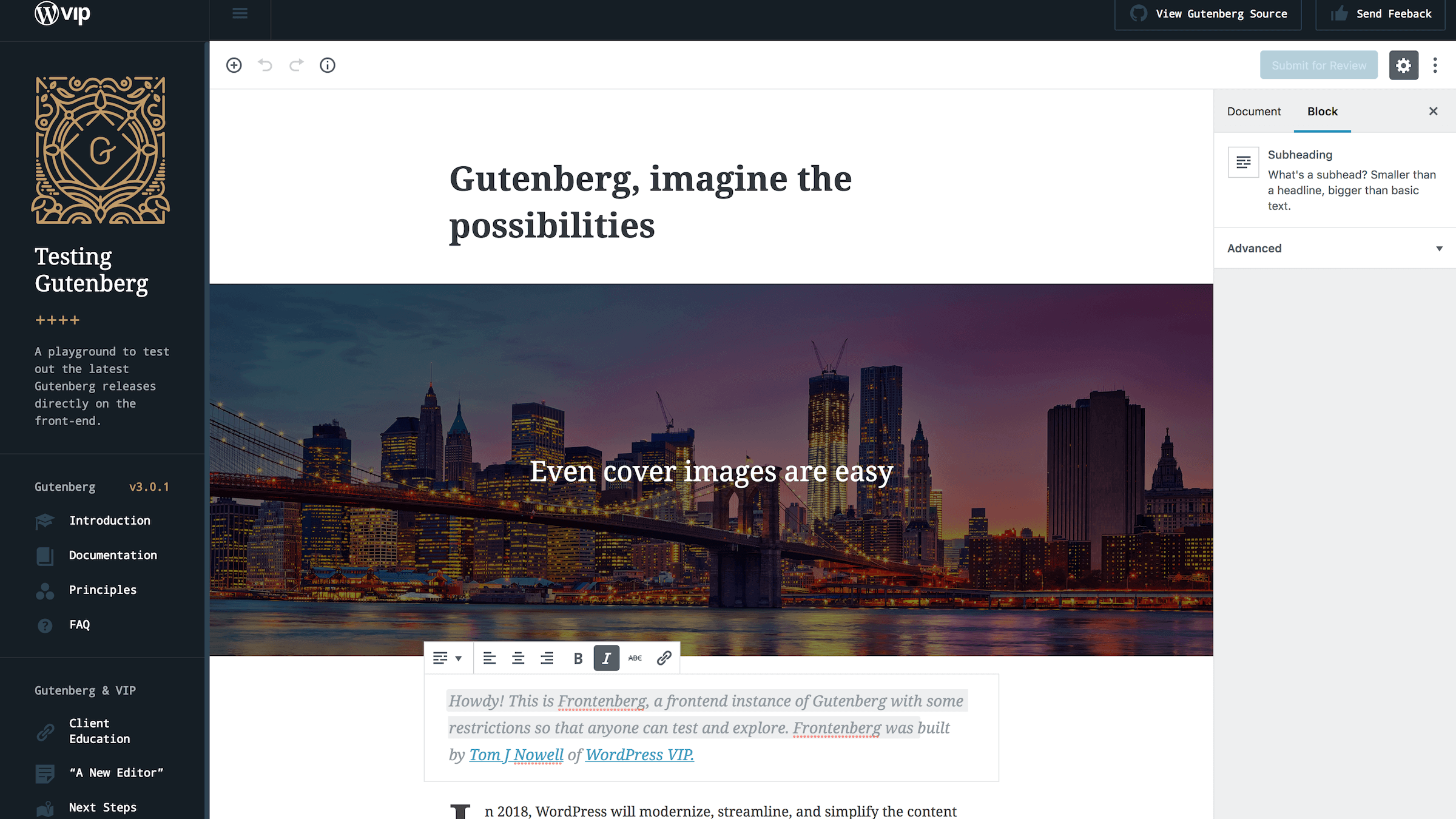 The Gutenberg demo page.