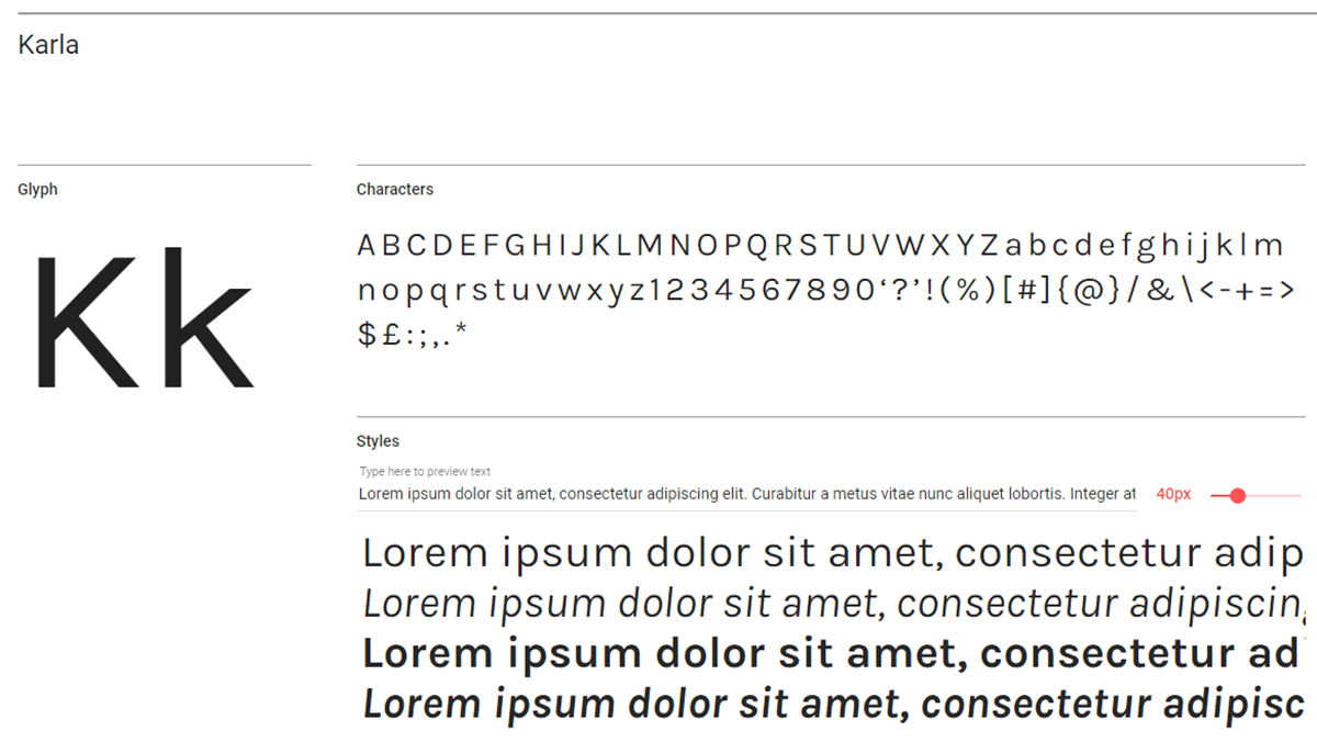The Karla font in action.