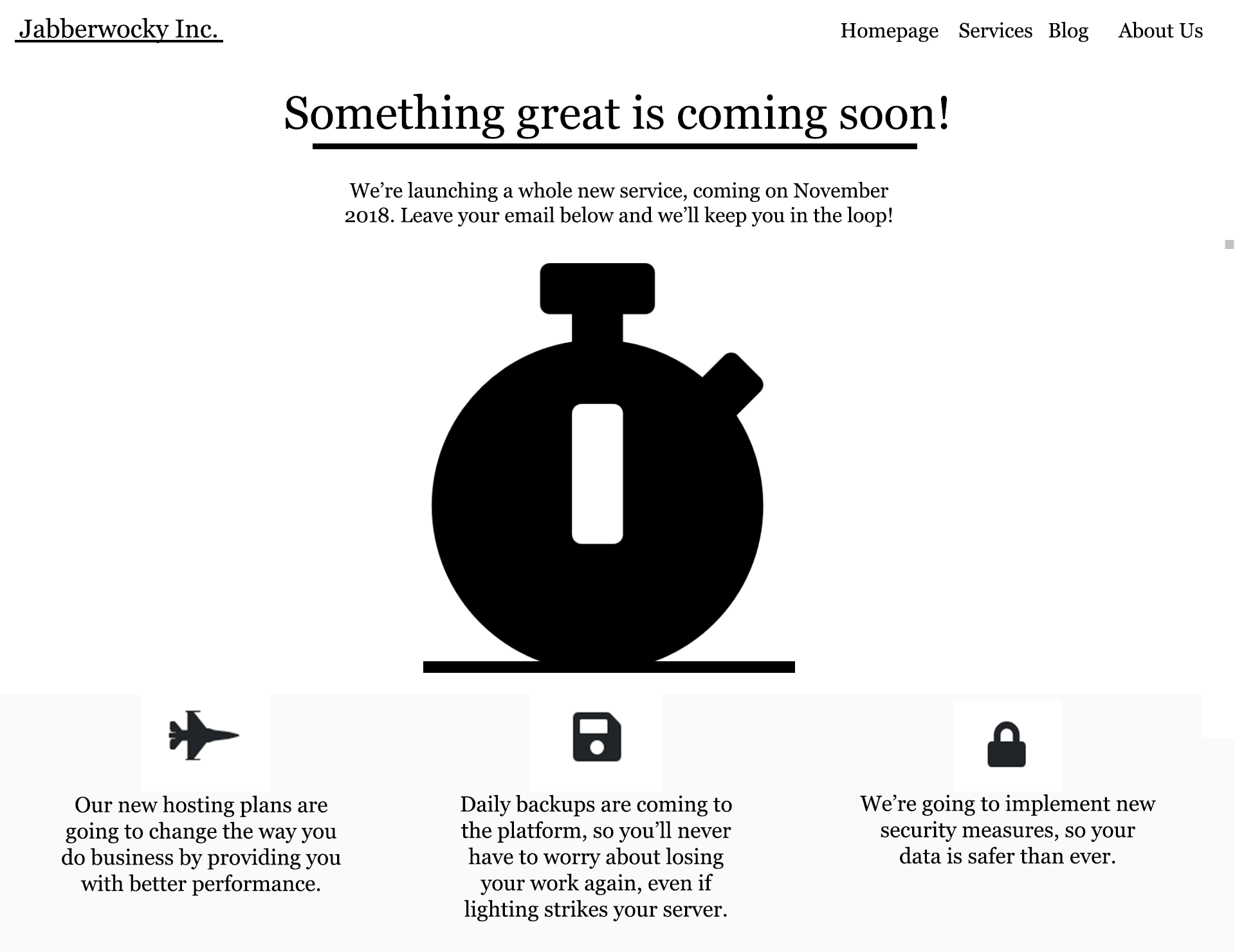 Our basic coming soon page so far.