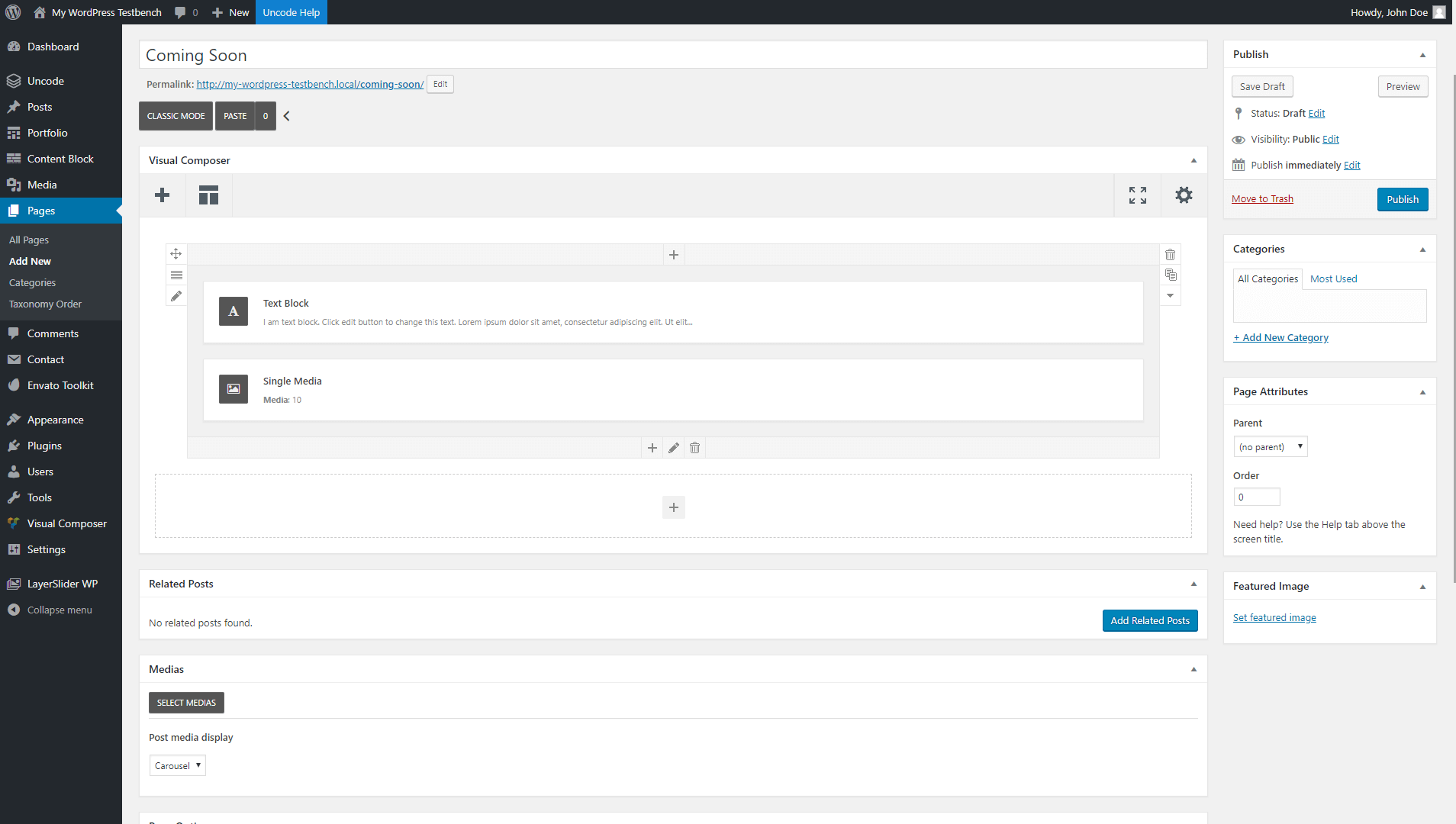 Adding a text block module.