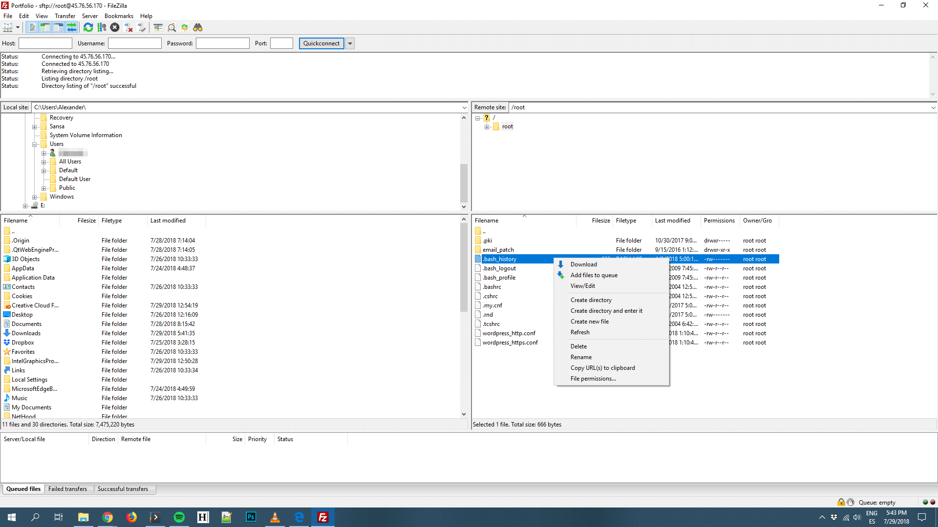 Using FileZilla to edit files.
