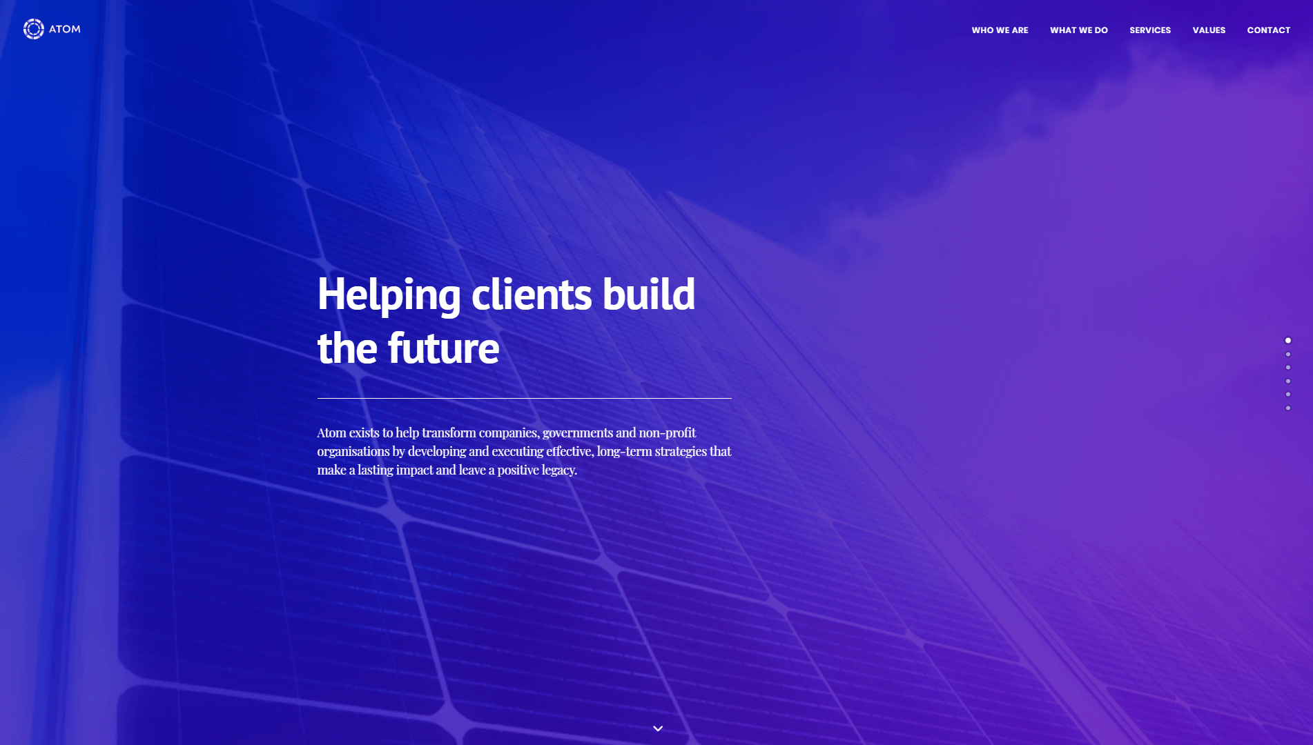 The Atom Consulting homepage.