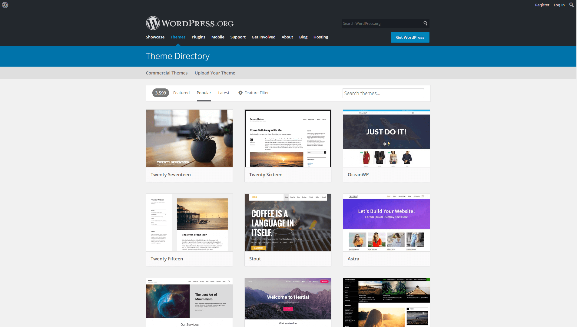 The WordPress.org theme repository.