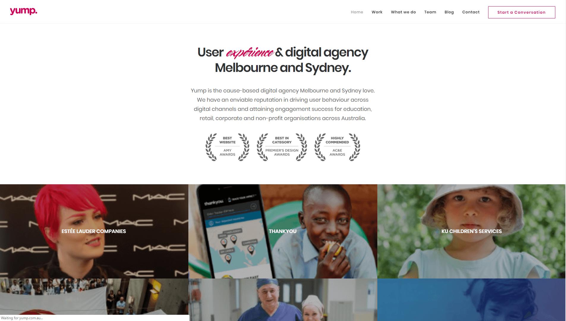 The Yump homepage.