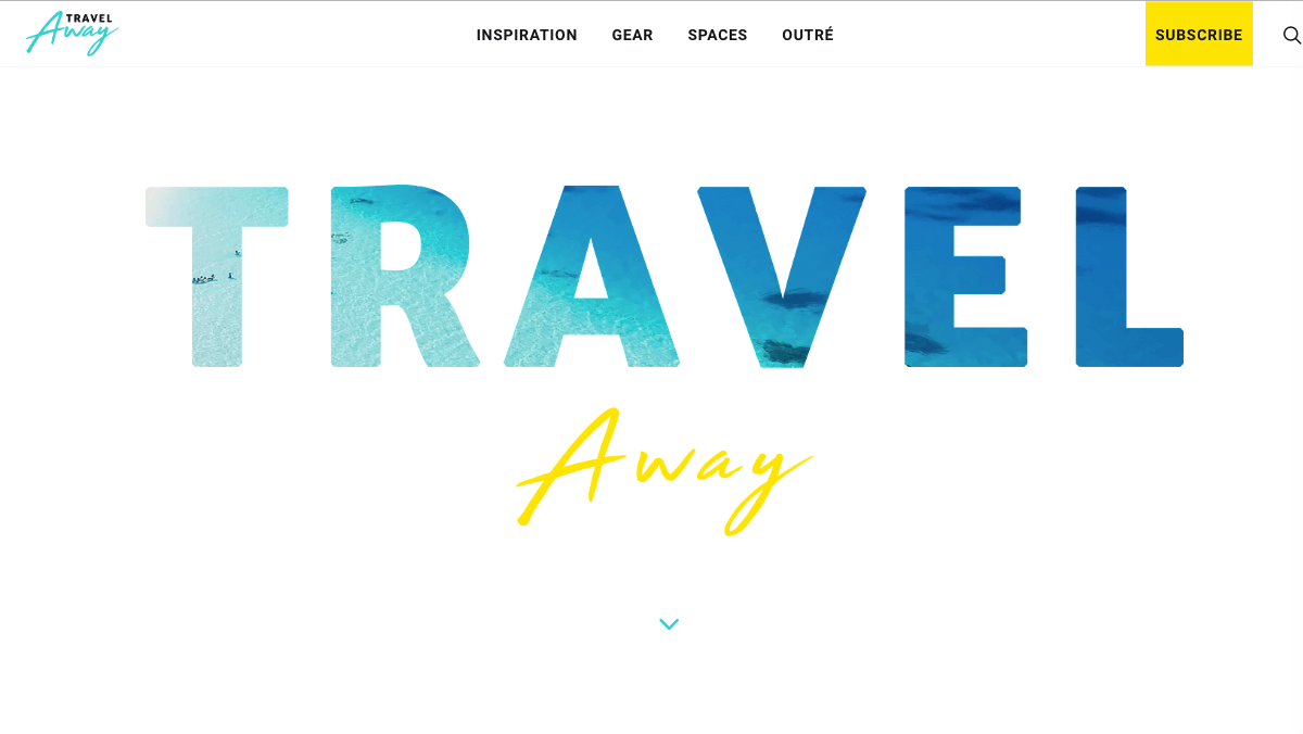 A subscribe button on the Home page of the Travel Away blog.
