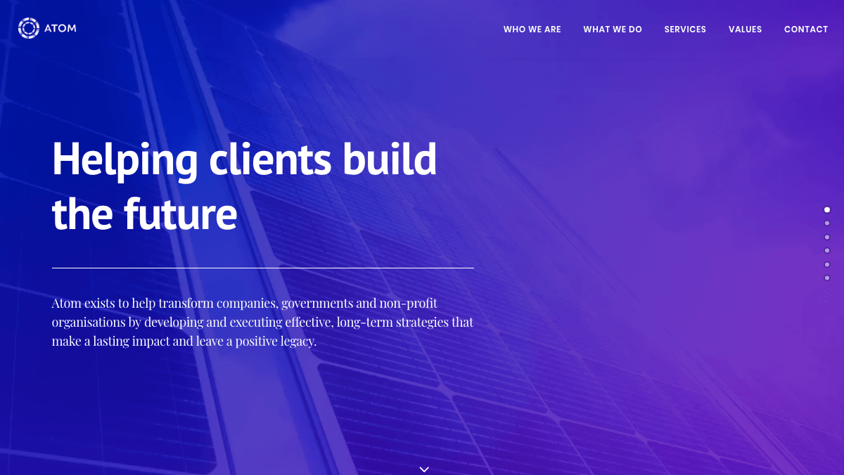 Atom's marketing site Home page.