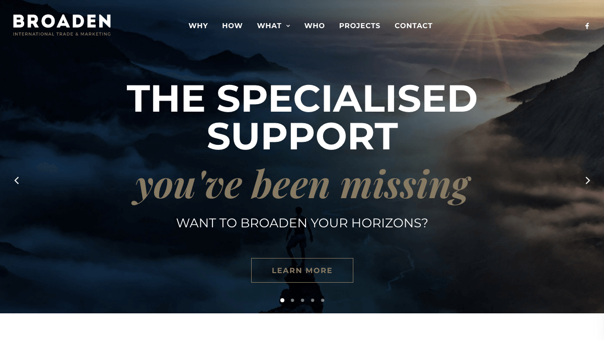 Broaden's marketing site Home page.